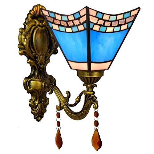 Lámpara de pared Lámpara de pared estilo Tiffany Cuadrado de 5.9 pulgadas Lámpara de pared de vidrio Lámparas de pared azules Accesorios de dormitorio para Cafe Bar Luz de Pared