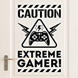 Wall4stickers Caution Extreme Gamers Habitación de los niños Etiqueta de la Pared Mural Vinilo...