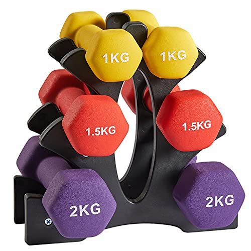Albott Neoprene Dumbbell Weights Home Exercise Gym Dumbbells Weights Set for Women Ladies Kids Arm Hand Fitness Weights Dumbbells Set with Stand - 1kg 1.5kg 2kg (3 Pairs)
