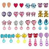 Aneco 16 Pairs Crystal Clip auf Ohrringe Mädchen Spielen Ohrringe Prinzessin Schmuck Ohrring Dress...