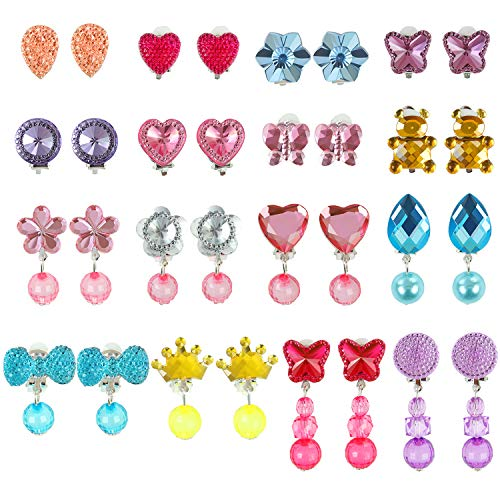 Aneco 16 Pairs Crystal Clip on Earrings Play Earrings Princess Jewelry Earring Dress up Accessories with for Party Favor Packed in 1 Clear Heart Shaped Box