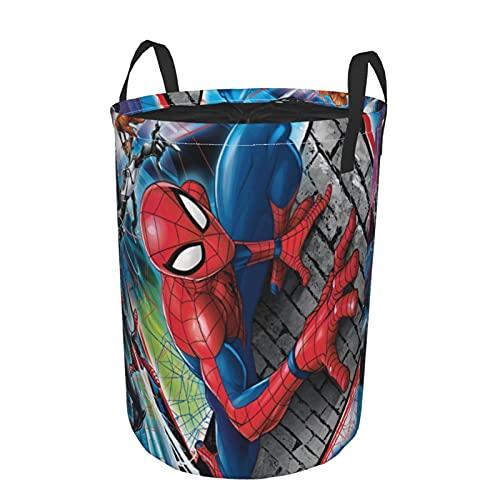 Spiderman Sac de rangement rond pour vêtements sales, étanche et résistant à la poussière, pliable, panier de rangement pour jouets, livres et vêtements