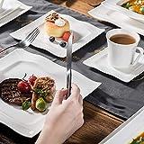 MALACASA, Serie Mario, 60 TLG. Cremeweiß Porzellan Geschirrset Kombiservice Tafelservice mit je 12 Kaffeetassen, 12 Untertassen, 12 Dessertteller, 12 Suppenteller und 12 Speiseteller - 7