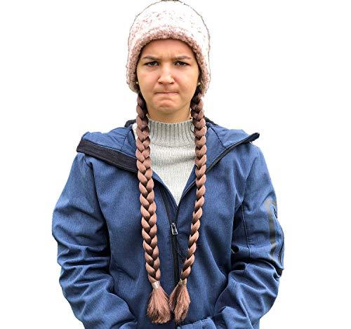 Festartikel Müller Trecce Greta sulla Fascia per Capelli Klima Greta Ragazza Ambientale, Accessori Costume, trecce 54 cm, Carnevale Marrone