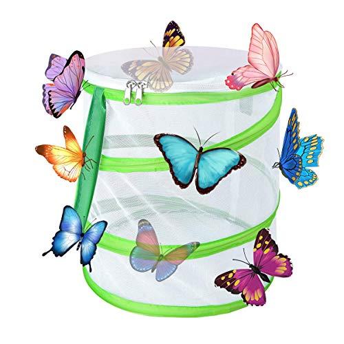 Yeelan Butterfly Habitat Zusammenklappbarer Käfer Catcher Net Mesh Insekten Pflanzenkäfig Terrarium Pop-up für Kinder/Kleinkinder Fangen von Grillen/Marienkäfer/Fisch (zylindrisch klein, 14x15cm)