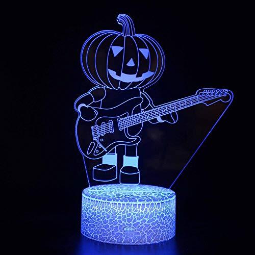 Luz de noche 3D Calabaza Hombre LED Magia, Control remoto cambio de color ilusión luz nocturna El mejor regalo creativo para niños