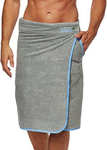 Sowel® Saunakilt Herren, Saunahandtuch mit Klettverschluss, Saunatuch aus 100% Baumwolle, 60 x 140 cm, Grau/Blau