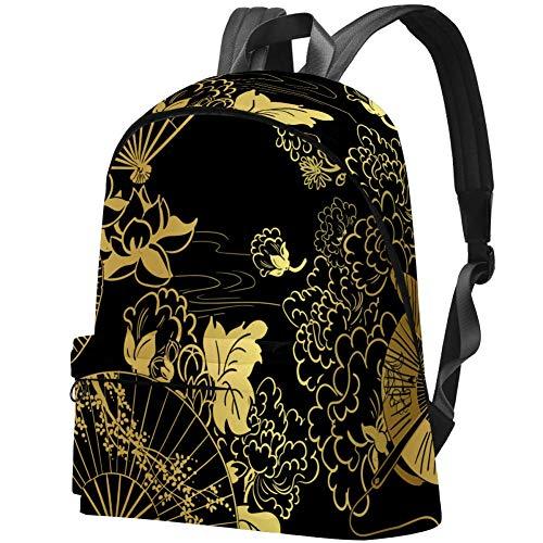 Schulranzen für College-Studenten, für 39,6 cm (15,6 Zoll) Notebooks, Reisen, Tagesrucksack, College, Schulranzen, Goldfarbene japanische Fächerblume