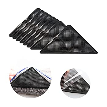 Seanonwly 8pcs Rug Gripper Anti Curling Rug Gripper for Carpet New Materials for Area Rugs Reusable Washable Carpets Tape for Flooring Peel and Stick Make Corner Flat