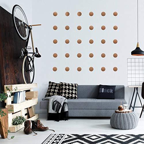 Koperen metalen muursticker Dots (112 Decals) | Gemakkelijk te schillen Makkelijk te plakken + Veilig op Geschilderde Muren | Verwijderbare Vinyl Polka Dot Decor | Ronde Sticker Grote Papier Sheet Set voor Kwekerij Kamer