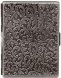 Antique Silver Victorian Print Compact (9 100s) Metal-Plated Cigarette Case & Stash Box