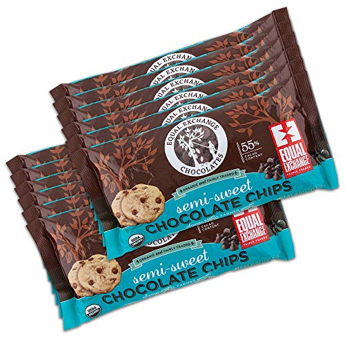 Equal Exchange Organic Chocolate Chips | SemiSweet | 55% Cacao | 10 Ounce | Pack of 12