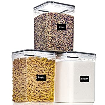 Large Food Storage Containers with Lids Airtight 5.2L /176Oz for Flour Sugar Baking Supply and Dry Food Storage PantryStar 3PCS BPA Free Plastic Canisters for Kitchen Pantry Organization