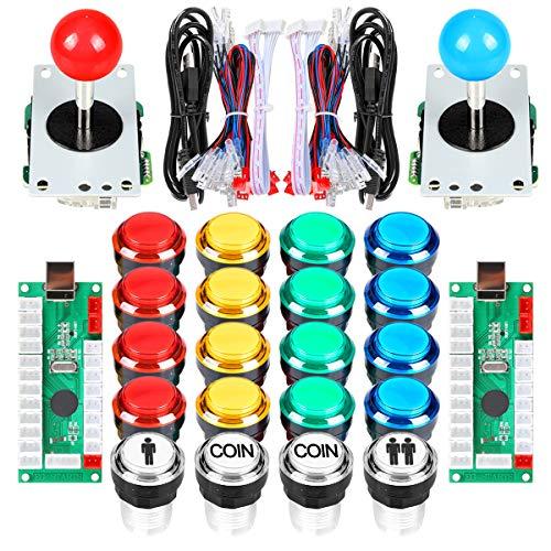 EG STARTS 2 Spieler klassische Arcade DIY Kit USB-Encoder zu PC Joystick Spiele + 2x 5Pin Rocker + 16x 30mm 5V LED beleuchtet Taste 1 + 2 Spieler Münze Tasten für Raspberry Pi 1 2 3 3B Mame Fighting