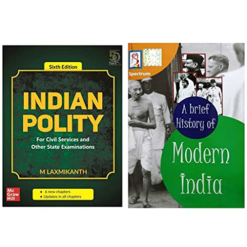 Combo Books Indian Polity 6th Edition (2020) by M. Laxmikanth and A Brief History of Modern India (latest edision) Session by Spectrum Book