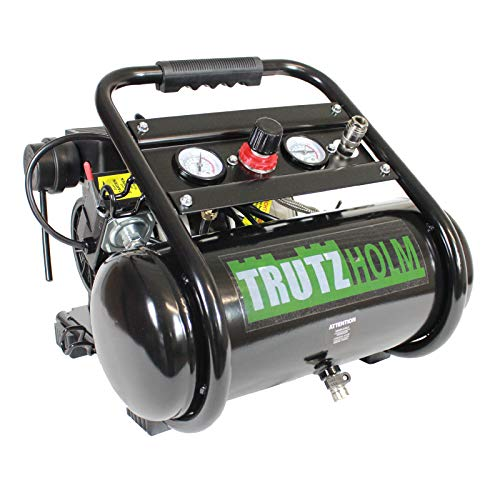 TrutzHolm® mobil Flüsterkompressor 8L silent leise 62dB Druckluft 750W TH-fk08l, Kompressor, ölfrei, 8 bar, 0.75 kW, Ansaugleistung 128 L/Min