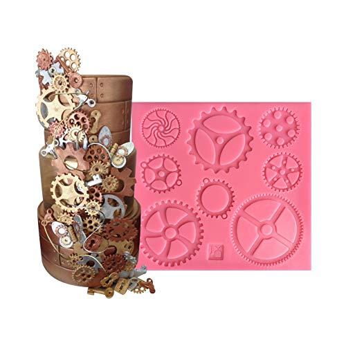 Silikonform für mechanische Zahnräder-Form, mechanische Zahnräder-Form, Kuchendekoration, Schokoladenform, 1 Stück