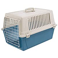 Rigid carrier for small dogs and cats, ergonomic handle and safe side hooks that also allow easy opening Made of durable plastic with plastic-coated steel door, designed to travel with your faithful friends on the most common means of transport (car,...