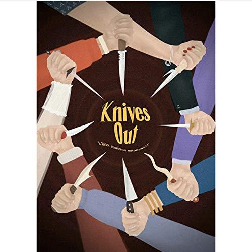 danyangshop Papierkarte Moive Knives Out Poster Chris Evans Daniel Craig Ana De Armas Michael Shannon Jamie Lee Wandaufkleber P-994 (50X90Cm) Ohne Rahmen