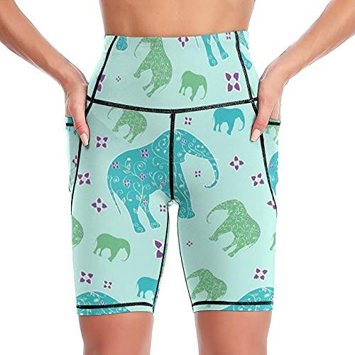 Yuzheng Pantalones Cortos De Yoga Elefantes Florales Lindos Shorts De Entrenamiento para El Control De La Barriga