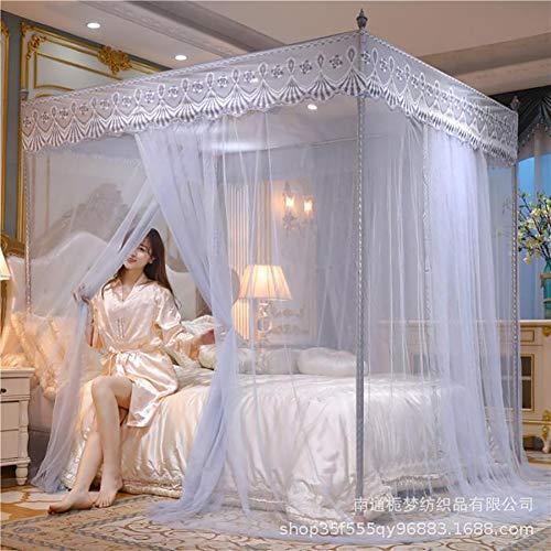 WLKQ Moskitonetz Moskito Fliegennetz Baldchin Mückenschutz für Doppelbetten Kinderzimmer - Betthimmel Mückenschutz Insektennetz Bettvorhänge - Doppelbetten,Grau,180x220×200cm
