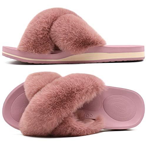 COFACE Zapatillas de Casa para Mujer Zapatillas de Felpa Pantuflas Cruzadas peludas Suave Cómoda Sandalia Plana Punta Abierta Antideslizante Interior Exterior Invierno Verano