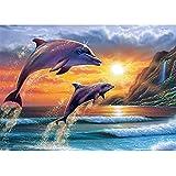 Bimkole 5d Diamond Painting Kit Bricolaje Arte Sol De Delfines, Acantilado Del Mar Pintura Diamantes Kits Estampados De Punto De Cruz Diamantes de Imitación Decoración de Pared, (40x50 cm)