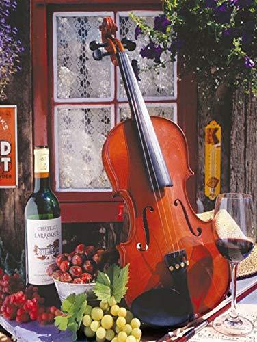 Rompecabezas de Madera, Rompecabezas de 1500 Piezas, Vino Tinto y violín Juguetes intelectuales, desafiante Rompecabezas Informal para Adultos y Adolescentes 87x57cm