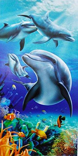 CONFORT HOME M.T. Toalla Playa - Grand Zoo - Algodón 100% Estampada Tacto Suave (254 Delfín)