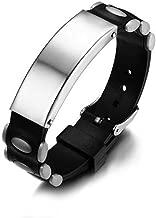 FOXI YOUTH Mens Stainless Steel Plain Indentification Black Rubber Anti Static Wrist Strap Wrist Bracelet Bangle