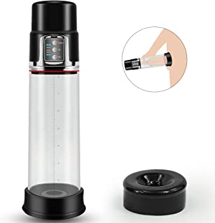 Rechargeable Automatic Penis Vacuum Pump with 4 Suction Intensities for Stronger Bigger Erections, PALOQUETH Electronic Male Enhancement Penis Pump with Clear Cylinder for Easy Viewing