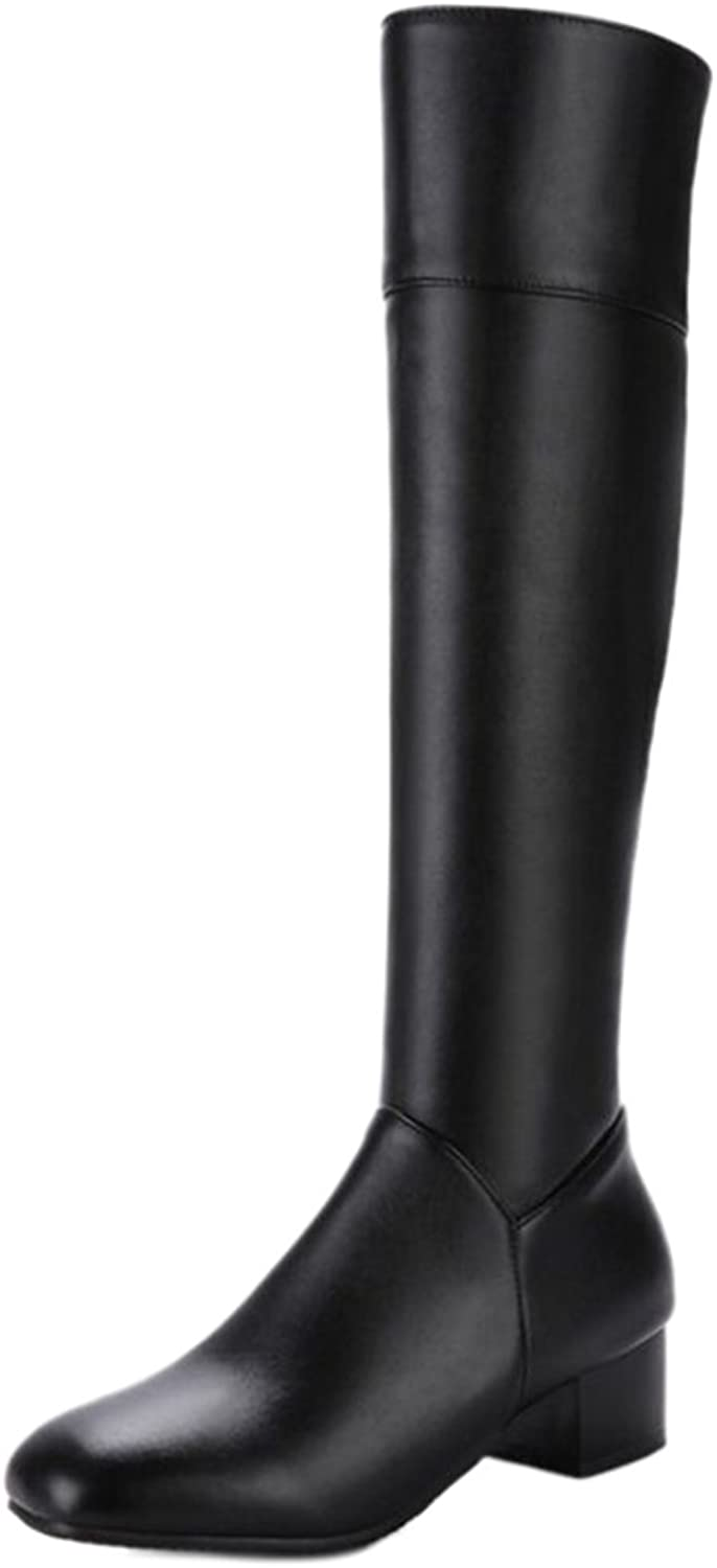 CUTEHEELS Women Over-The-Knee Mid Heel Boots Black
