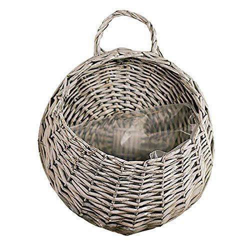 JIEHED Flower Planter Wall Hanging Wicker Rattam Basket, Garden Vine Pot Indoor...