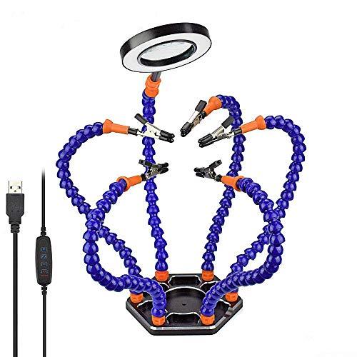 Manos de ayuda para soldar, Estación de soldadura de tercera mano NEWACALOX con luz de día con lupa 3X USB, 6 brazos de ayuda, clips giratorios