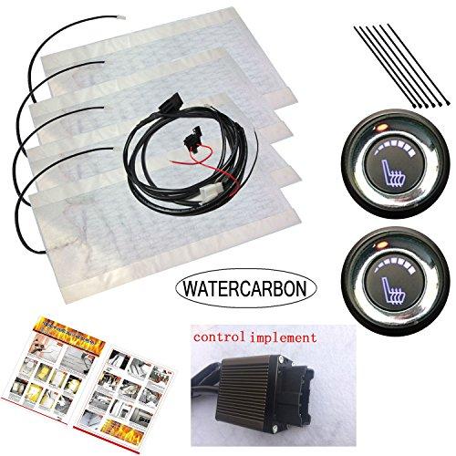 WATERCARBON Tech Era Carbon Fiber Seat Heater Kit Hi/Lo Setting, 2 Seats (6 Files LED Knob Switch Seat Heater Pad 2 Seats×1)
