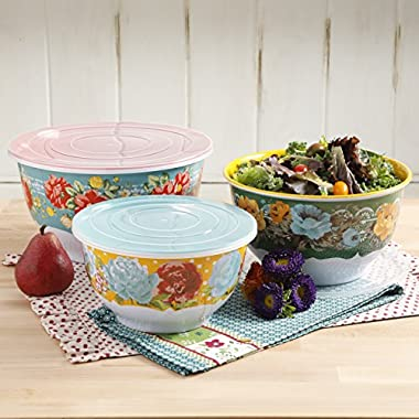 Pioneer Woman Melamine Serving Bowl Set with Lids (Set of 3 Bowls with 3 Lids) (Vintage Floral)
