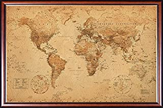 Framed Perfect for Push Pins World Map Vintage for Tracking Trips 24x36 Poster Dry Mounted in Executive Series Walnut Wood Frame with Gold Lip - Crafted in USA