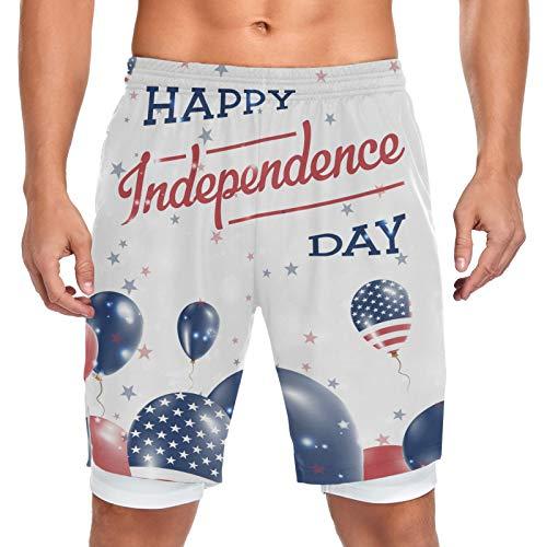 Mnsruu Pantalones cortos para hombre con bolsillo deportivo de entrenamiento con balón de día de la independencia de los Estados Unidos