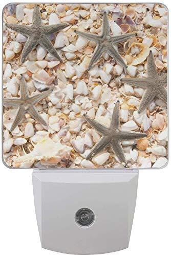 Paquete de 2 lámparas de luz nocturna LED enchufables con estampado de estrellas de mar en la playa con sensor de anochecer a amanecer para dormitorio, baño, pasillo, escaleras
