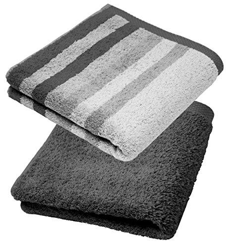 Lashuma - Juego de toallas de mano, manopla de baño, toalla de invitados, toalla de ducha, turquesa, gris, lila, azul, fucsia, arena y beige, maíz amarillo, 100 % algodón, gris, 2er 50 x 100 cm