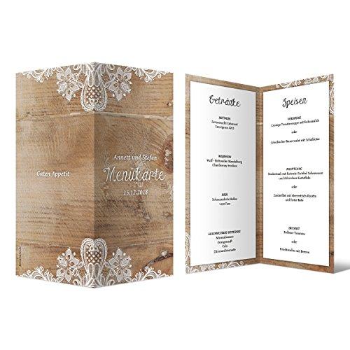 30 x Hochzeit Menükarten Menü Speisen Getränke - Rustikal mit weißer Spitze DIN Lang Klappkarte