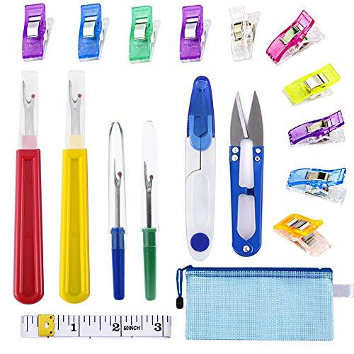 Anyasen Kit de Costura para Descoser Herramientas Costura Kit 4 Piezas Desgarrador de Costuras Herramienta para Cortar Hilos con Tijeras, Cinta métrica Suave, Pinzas de Coser y Bolsa de Almacenamiento