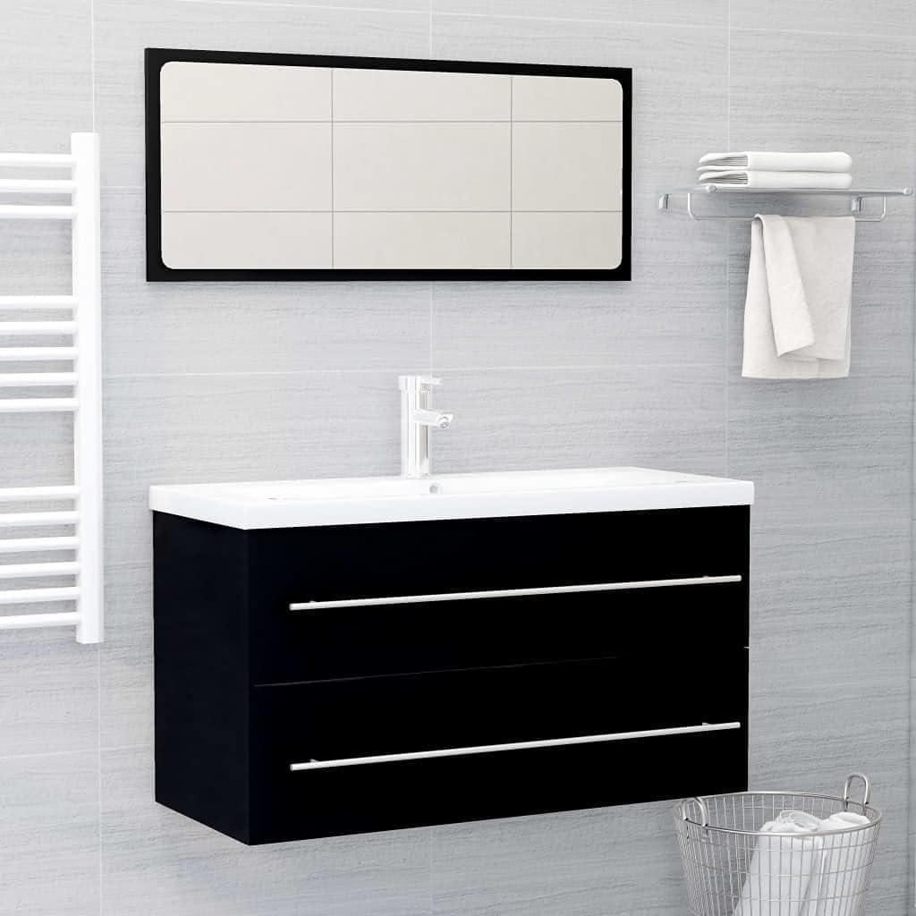 yeacher 2 Low Seasonal Wrap Introduction price Piece Bathroom Set Furniture Black Chipboard