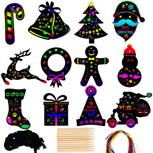 URATOT 36 Pieces Christmas Scratch Art Ornaments 12 Style Rainbow Scratch Paper Cards for Christmas Crafts Gift Tags