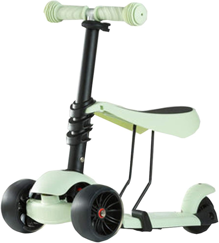 de moda FJHH-Trojotinettes Scooter for Kids Toddlers Toddlers Toddlers 2 en 1 - Patinete Ajustable de 3 Ruedas con Asiento extraíble y Ajustable, Ruedas Luminosas para Niños, Edad 1 + Puente Extra Grande  tienda en linea