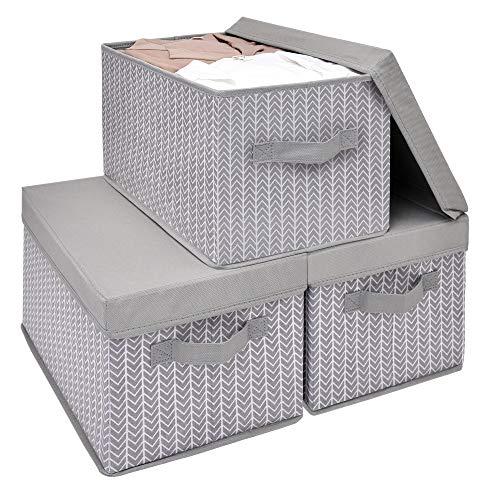 UMI Aufbewahrungsbox mit Deckel und Griff für Wandschrank, rechteckige Ordnungsbox, Stoffbox, Aufbewahrungskorb, Aufbewahrungsbehälter,Grau/Weiß, L, 3 Stück