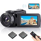 videocamera wi-fi camcorder, vlogging fotocamera con fhd 1080p 30fps 36mp per youtube ir night vision 16x zoom digitale schermo ips da 3.0''videocamera, telecomando, 2 batterie