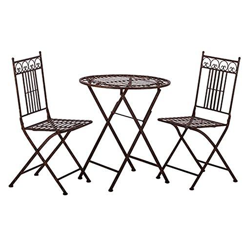 Unbekannt Tisch + 2 Stühle *Paris* Garnitur Gartenmöbel Sitzgarnitur Metall antikbraun