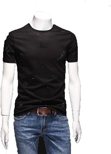 YAzNdom Manches Courtes Hommes T-Shirt à Manches Courtes for Hommes, col Rond et à Manches Courtes for Hommes Hauts pour Hommes (Couleur   Noir, Taille   L)
