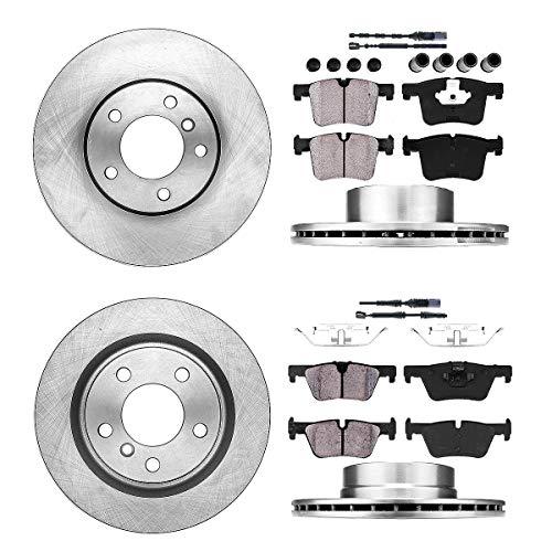 Callahan FRONT 312 mm + REAR 300 mm Premium OE 5 Lug [4] Rotors + [8] Ceramic Pads + Clips + Sensors CRK01341